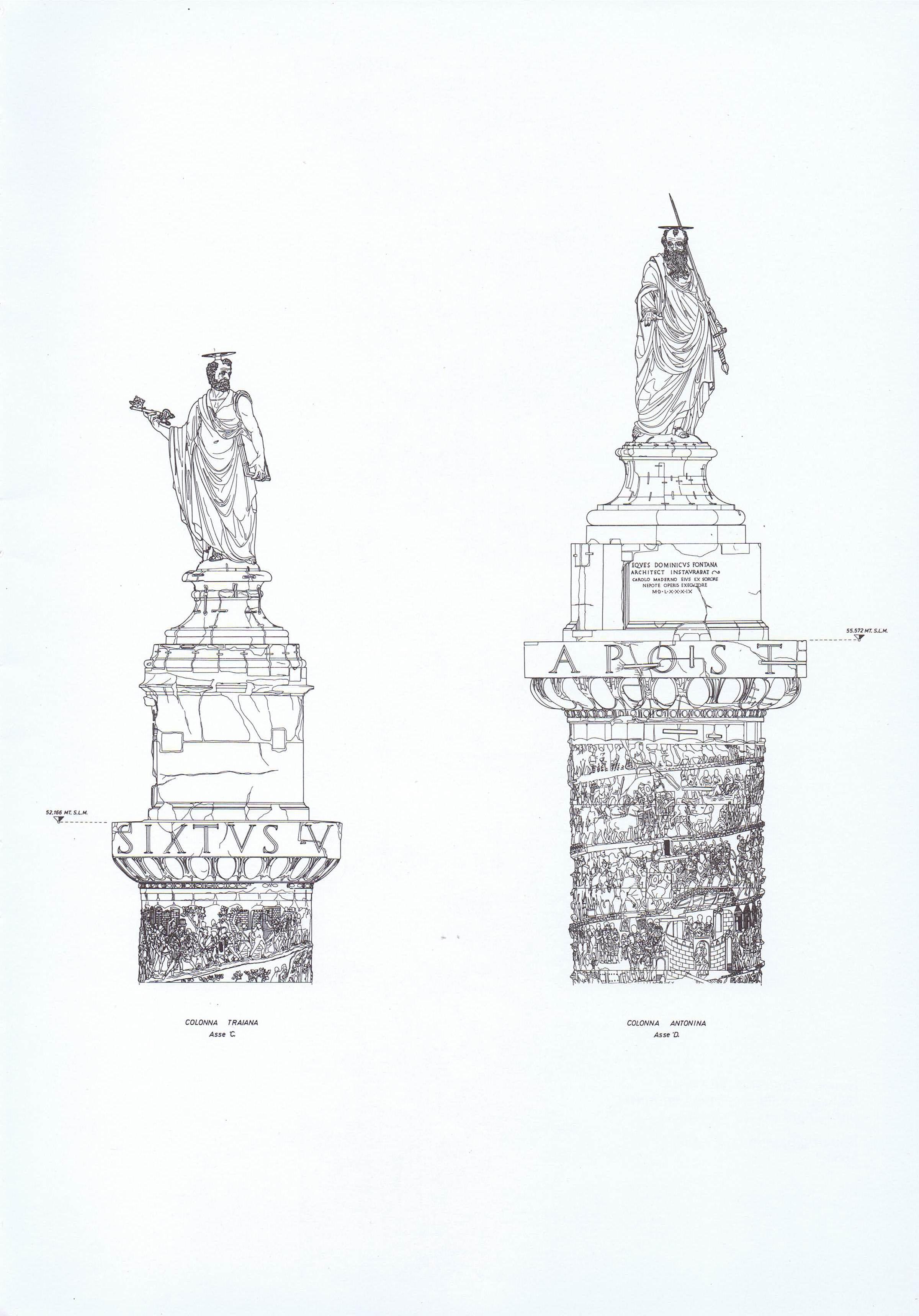 Confronto altimetrico Colonne Traiana e Antonina